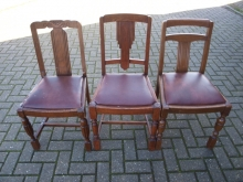 SET03TDCLS SET of THREE TRADITIONAL DINING CHAIRS with LEATHER SEAT