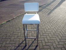 HBS02WLCL High Bar Stool in White Leather with Chrome Legs