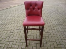 BBHBS01RL Button Back High Bar Stool in Red Leather
