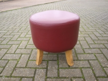 RLBS05RL Round Low Bar Stool in Red Leather