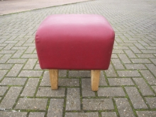 SQLBS01RL Square Low Bar Stool in Red Leather