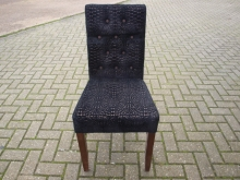 BBDCH01BF Button Back Dining Chair in Black Fabric
