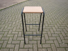 HBS010MSW High Bar Stool with Wood Seat and Metal Frame