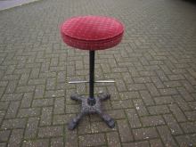 CBHBS04RF Cast Base High Stool with Red Fabric