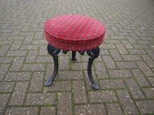 CBLS013RF Cast Base Low Bar Stool with Red Fabric