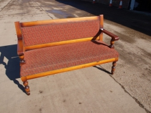 PB02RU Pub Bench with Red Upholstery