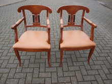 PRCC01TL Pair of Carver Chairs with Tan Leather Upholstery