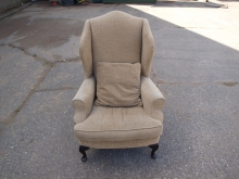 BWBC02 Wingback Chair with Beige Upholstery. Queen Anne Style Leg