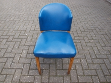 RBL08 Retro Blue Leather Chair with Metal Studs and Sprung Seat