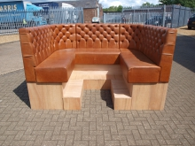 LBBS03 Real Leather Booth / Bench Seat . Seat Height 80cm