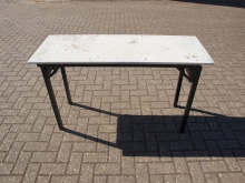 BTT5 Burgess Trestle Table with Flock Top and Metal Edge