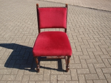 WCRU5 Wooden Bar Chair with Red Upholstery