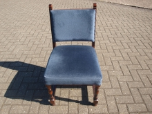 WCBU2 Wooden Bar Chair with Blue Upholstery