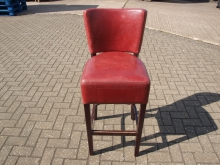 HBS7RED High Bar Stool with Red Leather Upholstery. Seat Height 80cm