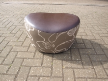 LSB6 Faux Leather Stool in Brown and Grey