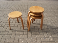 WSS9 Wooden 3 Leg Stacking Low Stool