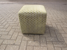 CGPF4 Cube Style Stool in Green Patterned Fabric