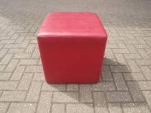 CRL2 Cube Style Stool in Red Leather