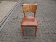 RDCL50 Restaurant / Dining Chair with Brown Leather Seat Pad