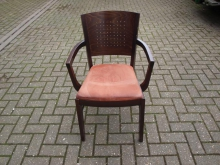 DWCOSP Dark Wood Carver Chair with Orange Fabric Seat