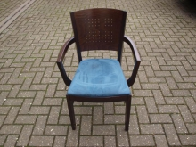 DWCBSP Dark Wood Carver Chair with Blue Seat Pad