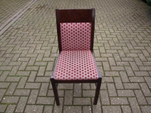 DWCRSF Dark Wood Restaurant Chair with Red Spot Fabric
