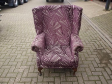 WBCPF6  Wing Back Chair in Purple Patterned Fabric