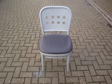 GFGL39 Wooden Restaurant / Bistro Chair with Grey Frame and Grey Leather Upholstery