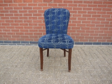 RDBP41 Restaurant Dining Chair with Blue Patterned Fabric Upholstery