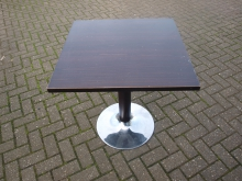 DWST7 Darkwood Pedestal Table with Chrome and Wood Effect Trumpet Base. 69cm Top