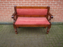 PB4RF 2 Seater Bench with Red Upholstered Seat and Back