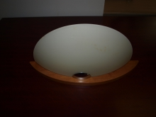 WLFG100 Wall Light. Wood Base with Frosted Glass