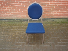 BST210 Burgess Stacking / Banqueting Spoonback Chair with Blue Upholstery.