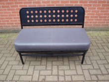 BSGL4 Bench with Grey Leather Seat and Black Metal Frame