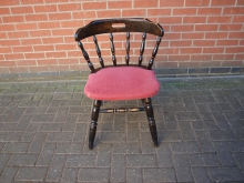 CCDWF6 Captains Chair with Dark Wood Frame and Red Upholstered Seat