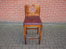 BSHB2 High Bar Stool with Leather Seat Pad