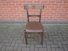 BLRBC19 Restaurant / Bistro Chair with Brown Leather Seat
