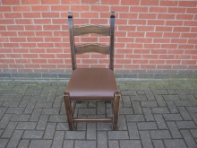 MWLBC6 Ladder Back Chair with Brown Leather Seat