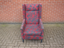 WBCRB1 Wing Back Chair with Red and Grey Patterned Fabric