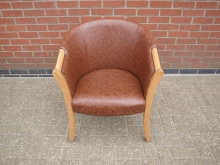 BRWT4 Brown Leather Tub Chair with Light Wood Frame