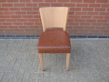 BLSRD6 Restaurant Dining Chair with Brown Leather Seat