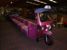 TUKDES 20 Seater Designer Tuk Tuk. Restaurant / Club Bench Seat. In Pink and Purple Leather with Chrome Fittings. Designed by George Ioannou.