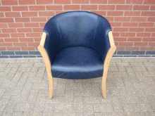 BLLT2 Blue Leather Tub Chair with Light Wood Frame