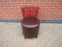 RRPATL4 Restaurant Chair. Leather Seat with Red Patterned Fabric