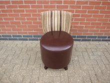 GRSR3 Restaurant Chair. Leather Seat with Stripey Fabric