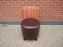 RSTP3 Restaurant Chair. Leather Seat with Stripey Fabric