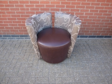 GLBLT4 Tub Chair. Brown and Grey Leather