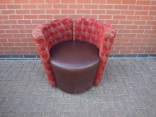 RFBLT10 Tub Chair. Brown Leather Seat with Red Patterned Fabric