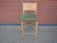 HBSGS4 Light Wood High Bar Stool with Green Spotted Fabric