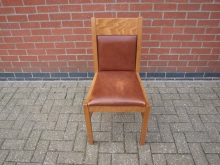 BRLCH10 Restaurant Dining Chair with Brown Leather Upholstery